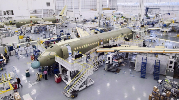 Bombardier CS100 assembly line in Mirabel, Que.