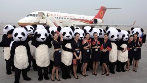 People in panda costumes pose with air stewardess in front of a Chengdu Airlines ARJ21-700 plane at Chengdu Shuangliu International Airport on June 28, 2016. (Chinatopix Via AP)