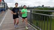 Prime Minister Justin Trudeau and Mexican President Enrique Pena Nieto run across the Alexandra Bridge from Ottawa to Gatineau, Quebec on Tuesday, June 28, 2016. THE CANADIAN PRESS/Sean Kilpatrick