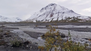 A snowy scene greets visitors around the Toklat River, on Monday, Aug. 31, 2015, in Denali National Park and Preserve, Alaska. (AP / Becky Bohrer)