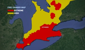 This map based on Natural Resources Canada data shows areas rated extreme for fire danger (in red) and ones rated high (yellow).