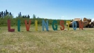 Livingston sign at Tuesday morning's launch of the new neighbourhood in north-central Calgary