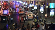 Turkish rescue services gather outside Istanbul's Ataturk airport, Tuesday, June 28, 2016. Two explosions have rocked Istanbul's Ataturk airport, killing several people and wounding others, Turkey's justice minister and another official said Tuesday. (Ismail Coskun, IHA via AP) TURKEY OUT