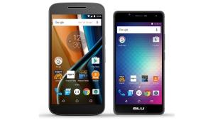 Motorola's Moto G, left, and the Blu R1 HD. (Amazon via AP)