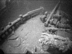 This image from video provided by Jim Kennard shows the the bow of the shipwrecked Canadian schooner Royal Albert that sank off Lake Ontario's central New York shore nearly 150 years ago. (Courtesy of Jim Kennard via AP)