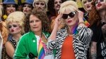 This is a Saturday June 25, 2016 file photo of British actresses Jennifer Saunders, left, and Joanna Lumley as they pose for photographers during a photo call to promote the film 'Absolutely Fabulous', during the annual Gay Pride parade in London. (Photo by Vianney Le Caer/Invision/AP, File)