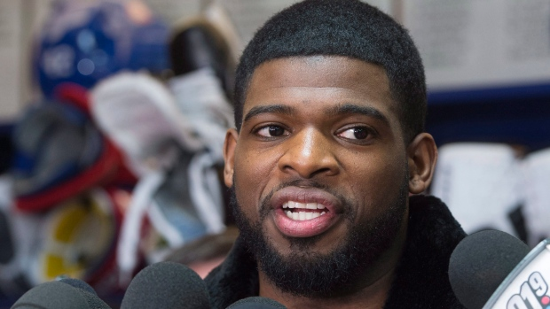 In this April 11, 2016, file photo, Montreal Canadiens defenseman P.K. Subban talks with reporters during an end of season availability at the team training facility in Brossard, Quebec. (Paul Chiasson/The Canadian Press)