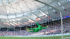 Vancouver Whitecaps goalkeeper David Ousted dives for a Toronto FC shot during first half Canadian Championship final soccer action in Vancouver, B.C., on Wednesday June 29, 2016. (Darryl Dyck / THE CANADIAN PRESS)