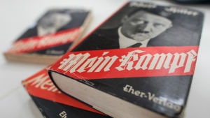 Different editions of Adolf Hitler's 'Mein Kampf' are on display at the Institute for Contemporary History in Munich on Dec. 11, 2015. (Matthias Balk / dpa)