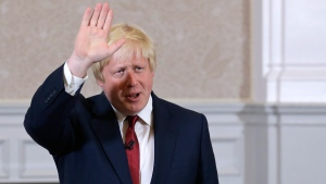 Boris Johnson waves in London, on June 30, 2016. (Matt Dunham / AP)