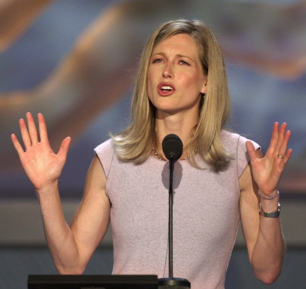In this Aug. 16, 2000 file photo, Karenna Gore Schiff, daughter of Democratic presidential candidate Vice President Al Gore, speaks at the Democratic National Convention in the Staples Center in Los Angeles. (AP Photo/Ron Edmonds, file)