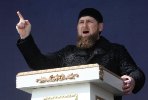 In this Wednesday March 23, 2016 file photo, Chechen regional leader Ramzan Kadyrov addresses a rally in the regional capital of Grozny, Russia. (AP / Musa Sadulayev)