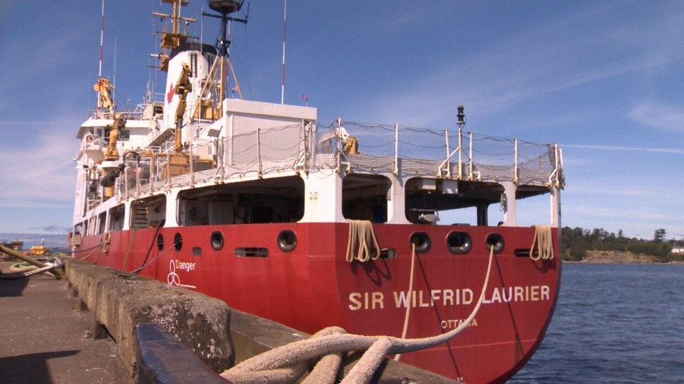 More than 30 bicycles were loaded onto the Canadian Coast Guard's Sir Wilfrid Laurier at the Victoria Coast Guard Base on Thursday. June 30, 2016 (CTV Vancouver Island)