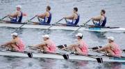 Russian (bottom) and Estonian boats race during a men's quadruple rowing sculls heat in Eton Dorney, near Windsor, England, at the 2012 Summer Olympics, Saturday, July 28, 2012. (Natacha Pisarenko/AP Photo)