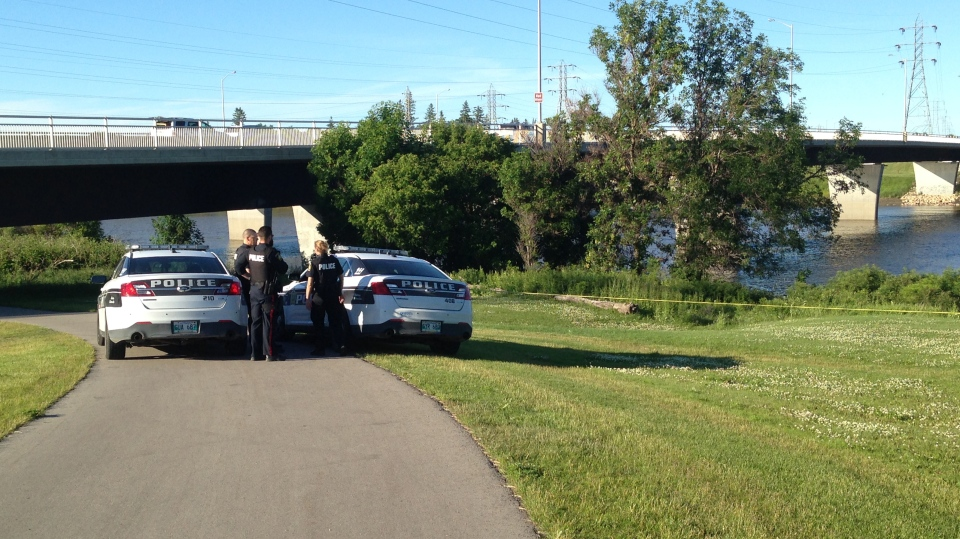 Winnipeg police on the scene Thursday after passersby reported seeing something in the water near the Fort Garry Bridge.