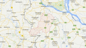 The Jhenaidah district, where a temple worker was hacked to death, is seen in this image from Google Maps.