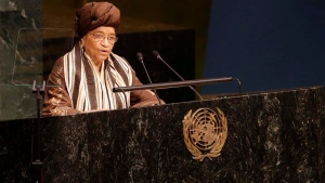 President of Liberia Ellen Johnson Sirleaf addresses the Sustainable Development Summit, at the UN, on Friday, Sept. 25, 2015. (AP Photo/Mary Altaffer)