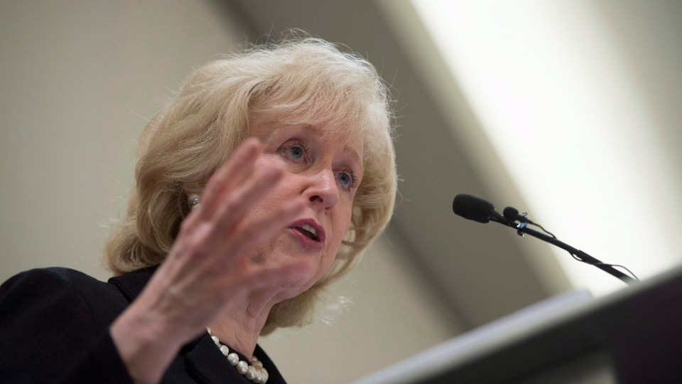 Former Canadian prime minister Kim Campbell addresses the Canadian Club in downtown Vancouver, B.C. Wednesday, April 22, 2015. (Jonathan Hayward / THE CANADIAN PRESS)