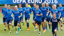 Players attend a training session of Iceland's national soccer team at their base camp in Annecy, France, Thursday, June 30, 2016. (Michael Probst/AP Photo)