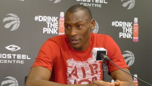 Toronto Raptors' Bismack Biyombo speaks to media during a season wrap-up conference at the Biosteel Centre, in Toronto on Saturday, May 28, 2016. (THE CANADIAN PRESS/Neil Davidson)