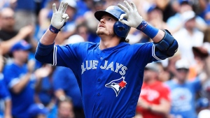 Toronto Blue Jays' Josh Donaldson celebrates after hitting a solo home run against the Cleveland Indians during seventh inning MLB baseball action, in Toronto on Saturday, July 2, 2016. (Frank Gunn/The Canadian Press)
