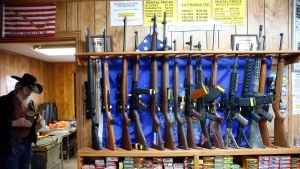Guns for rent are on display at a shooting range and retail store in Cherry Creek, Colo. on March 15, 2016 . (AP / Brennan Linsley)