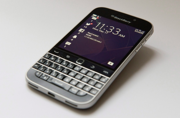 BlackBerry says it will stop making its BlackBerry Classic smartphone, less than two years after launching it. (Graeme Roy / THE CANADIAN PRESS)