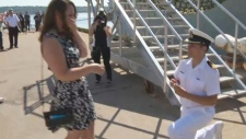 sailor proposes to girlfriend