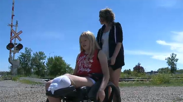 Kennedy Rhodes lost her leg after trying to hop onto a moving train.