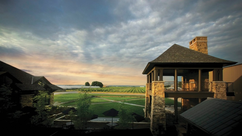 This undated photo supplied by Trius Winery at Hillebrand shows the winery's backyard vineyard and Winemaker's Lookout in Niagara-on-the-Lake, Ontario. (AP / Trius Winery at Hillebrand, Joseph Chan)