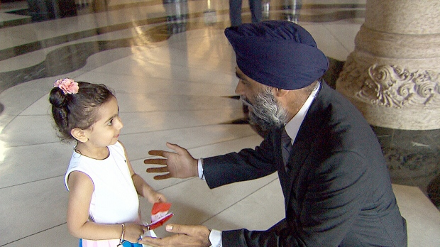 But Sophia got her wish to meet Defence Minister Harjit Sajjan Thursday morning when the minister took her on a tour of Centre Block.