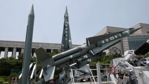 South Korea's mock missiles are displayed next to North Korea's mock Scud-B, left, at the Korea War Memorial Museum in Seoul, South Korea, Friday, July 8, 2016. (AP / Lee Jin-man)