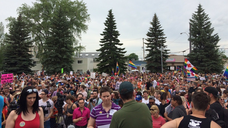Thousands gather at Steinbach City Hall following the city's first-ever Pride march on Saturday, July 9, 2016. (Beth Macdonell / CTV Winnipeg)
