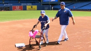 Kitty Cohen running the Blue Jays' bases