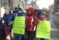 Dozens of Ottawa residents protested a 48-day public transit strike during a rally at Parliament Hill, Monday, Jan. 26, 2009.