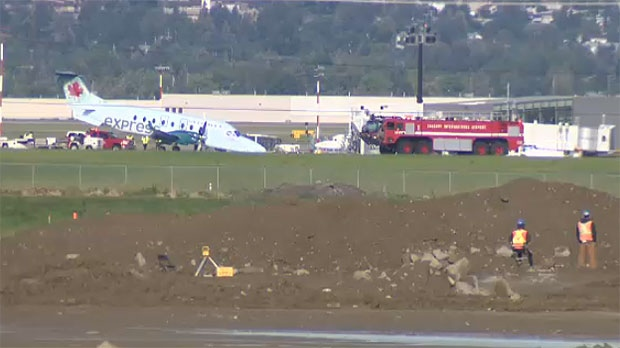 A plane made an emergency landing at the Calgary airport on July 12, 2016.