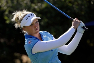 Brooke Henderson, of Canada, follows her drive from the 10th tee during the final round of the U.S. Women's Open golf tournament at CordeValle, in San Martin, Calif. on Sunday, July 10, 2016. (AP  / Eric Risberg)