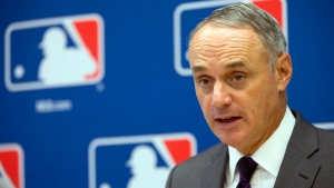 Baseball Commissioner Rob Manfred speaks during a news conference at Major League Baseball headquarters in New York in this May 19, 2016, file photo. (File/The Associated Press)