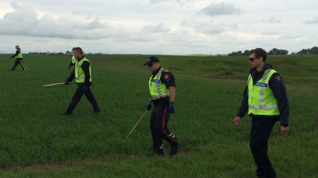 Officers searched through ditches and fields about six kilometres west of Delacour on Range Road 281 north of Township Road 252 on Thursday