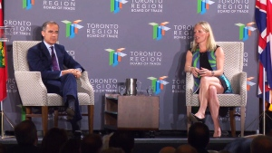 Bank of England governor Mark Carney and Environment Minister McKenna speak in Toronto on Friday, July 15, 2016.