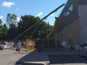 Man fell through roof at GoodLife Fitness.