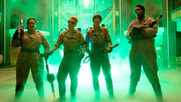 "This image released by Sony Pictures shows, from left, Melissa McCarthy, Kate McKinnon, Kristen Wiig and Leslie Jones in a scene from ""Ghostbusters,"" opening nationwide on July 15. (Hopper Stone/Columbia Pictures/Sony Pictures via AP)"