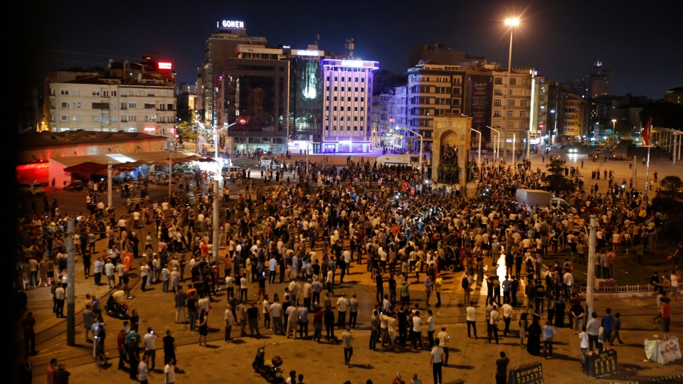 Supporters of Erdogan gather at Taksim square