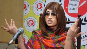 In this picture taken on June 28, 2016, Pakistani fashion model Qandeel Baloch speaks during a press conference in Lahore, Pakistan. (M. Jameel/AP Photo)
