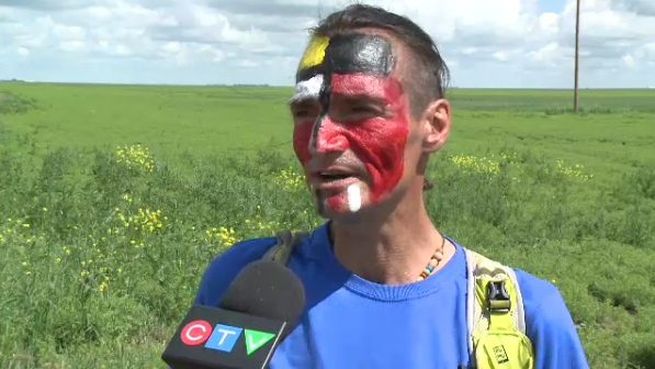 Brad Firth is running across Canada to draw attention to Canada's missing and murdered indigenous women. (CTV Regina)