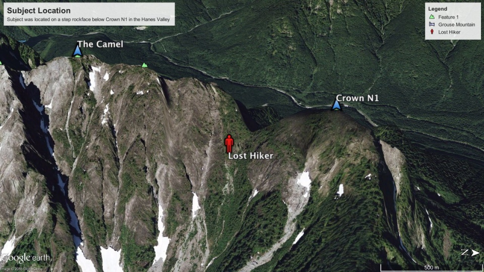 North Shore Rescue retrieved a hiker who had gotten lost while hiking the Hanes Valley trail on Saturday. (North Shore Rescue image)