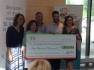 Brandon Prust, second from right in back, makes a $100,000 donation through his foundation to support vision screening for young children in London, Ont. on Monday, July 18, 2016.