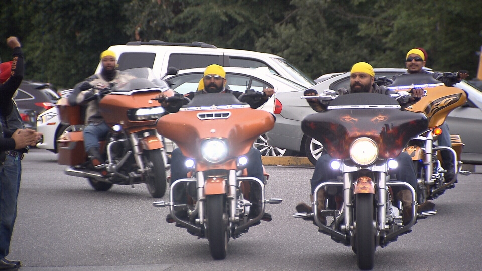 Members of B.C.'s Sikh Motorcycle Club are pictured during a 2016 fundraising ride.