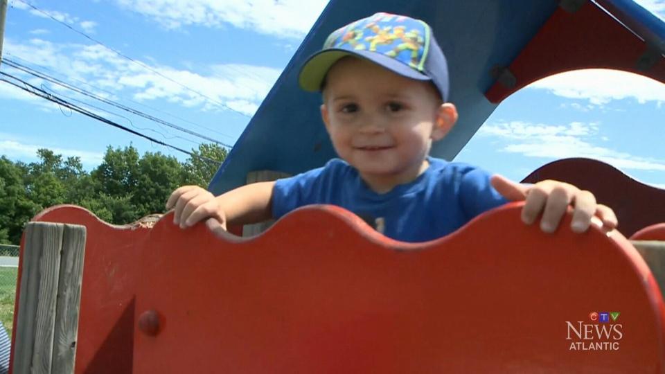 Two-year-old Keegan plays in Fredericton, N.B.