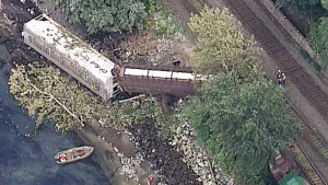 A train derailment is seen from CTV's Chopper 9 as it flew over Burnaby on Tuesday, July 19, 2016.